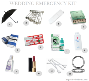 Preparing a Wedding Day Emergency Kit